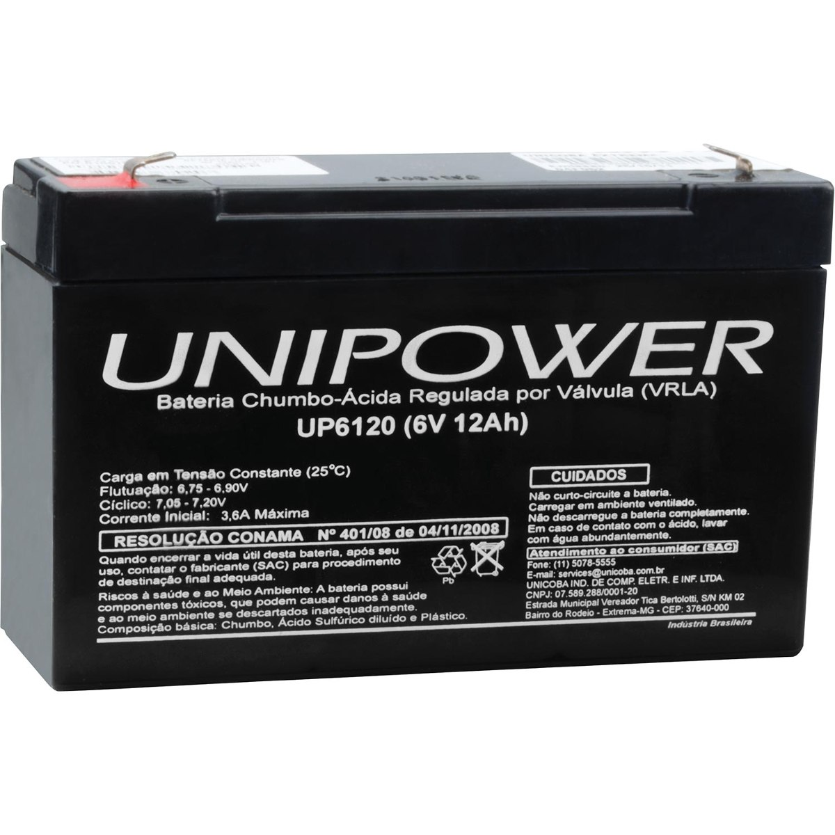 BATERIA SELADA UNIPOWER UP6120 – 6V, 12A