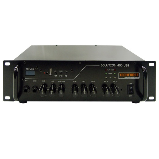 AMPLIFICADOR TECHFORCE SOLUTION 400 – 200WRMS, SINTONIZADOR FM, USB E BLUETOOTH